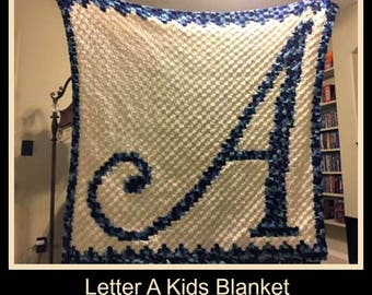 Letter A Kids Afghan, C2C Graph, Crochet Pattern