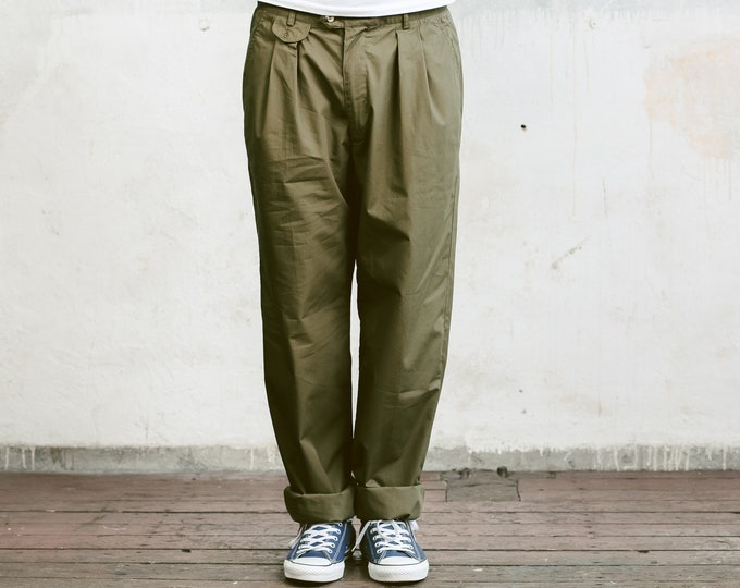 90s Khaki Men Chino Pants . Vintage 90s Khaki Green Chino Pants Trousers Mens 90s Oldschool Pants 90s Nerd Trousers Dad Pants . size Large L