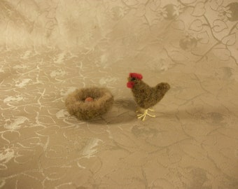 Felted Hen With Nest,Micro Hen,Felted Nest With Egg,Miniature Chicken