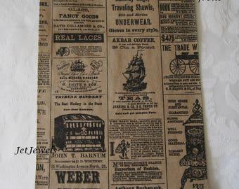 50 Paper Bags, Gift Bags, Brown Paper Bags, Newsprint Bags, Newspaper Bags, News Print, Party Favor Bags, Retail Bags, Merchandise Bags 6x9
