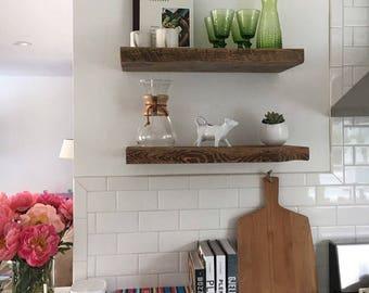 "11"" DEEP RECLAIMED Wood Floating Shelves With Steel Floating Bracket"