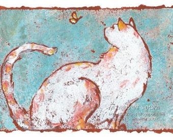 Orange Cat Art Print, Cute Cat Art, Whimsical Cat Wall Decor, Whimsical Cat Art, Cat Art Print, Colorful Cat Art