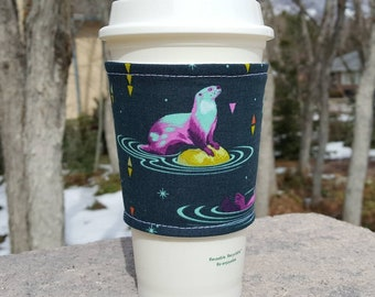 FREE SHIPPING UPGRADE with minimum -  Fabric coffee cozy / cup sleeve / coffee sleeve / drink cozy - Otter on Teal