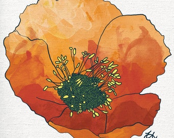 "Orange Poppy Print 8x8"" (Signed)"