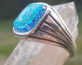 NEW Men's Cremation Ring Ashes InFused Glass Pet Memorial Antiqued Sterling Size 10