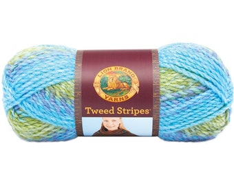 Lion Brand Tweed Stripes Lakeside Yarn - 2 skeins
