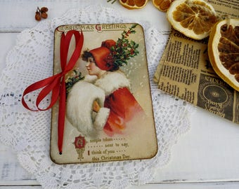 Black friday Christmas Gifts Christmas Card Greeting Card Wooden Christmas Cards Vintage Style Postcard Merry Christmas Victorian Style Card