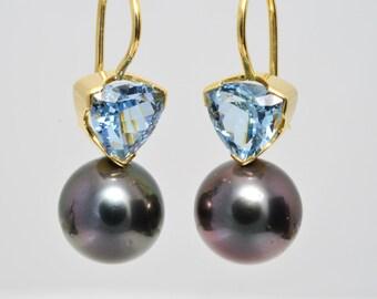 Earrings • aquamarine • Tahiti Cultured Pearl • Gold