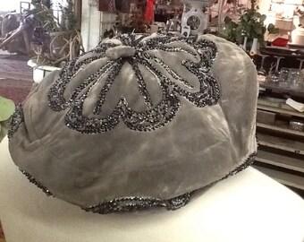 Vintage Gray Velvet Beaded Hat