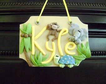 Name Sign Personalized Kids Name Sign Safari Kids Room Decor Kids Gift Ideas. Kids Name Sign Door Hanger