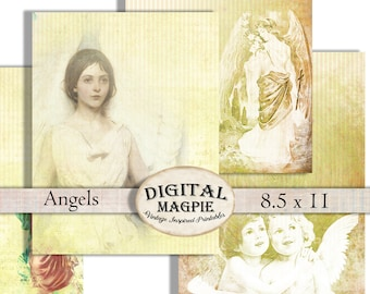 angels scrapbook paper antique digital paper pack printable old aged craft paper cherubs background instant download  8.5 x 11