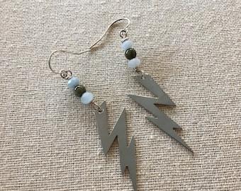 Aquamarine and Green Tourmaline Lightning Bolt Dangle Earrings