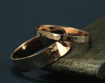 Rose Gold Wedding Band Set--His and Hers Gold Wedding Rings--Hammered Rose Gold Flat Bands--Rose Gold Hammered Wedding Rings