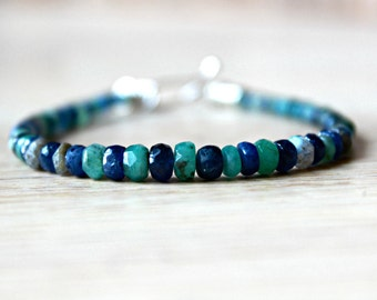 Men's Bracelet with Sapphire and Emerald Stones