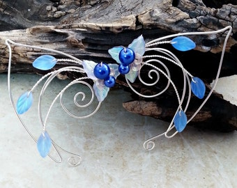 Sapphire Blue Elf Ear Cuff Fairy Ears Pair or Single, Something Blue, Bridal Ear Cuff