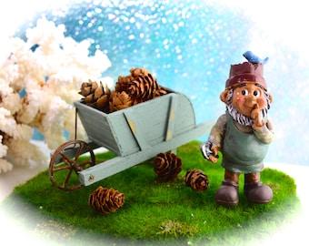 Miniature Gnome and Wheelbarrow full of mini pinecones Set ~ Garden Gnome ~ Fairy Garden Supplies ~ Miniature Rustic Blue Wheelbarrow