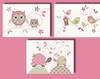 "Baby Girl Nursery Art, Owl Decor, Kids Bird Wall Art Print, Tortoise, Bird House, Pink, Green 11x14"" Print, Treetop Love Set Of 3 Prints"