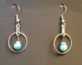 Silver Hoop Earrings with Aquamarine bead