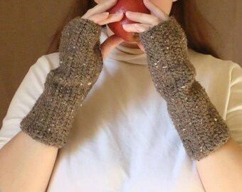 Barley Fingerless Gloves for Men or Women- Brown, Crochet, Rustic Brown  Arm Warmers, Wrist Warmers, Fingerless Mittens MADE TO ORDER