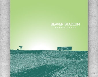 Beaver Stadium Pennsylvania City Skyline / Office Art for Dad / Home Wall Art / Pop Art Gift / Choose your colors / Any City Available