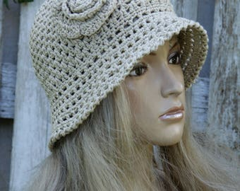 Summer Crochet Hat Hand made cloche Hat beige Cotton Floppy Hat flower Rose Spring Summer Garden Hat Women Sun Hat Hand made Brimmed Sun