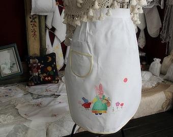 Lovely cotton handmade applique apron Bunny pinafore