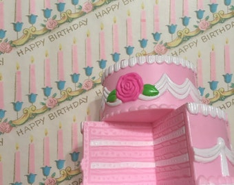 Birthday Candles Gift Wrap Vintage Paper Pink Aqua Pink Candles 1950s Journaling