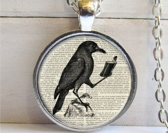 Raven Pendant, Raven With Book, Crow Necklace, Literary Jewelry