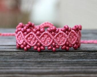 Micro-Macrame Beaded Bracelet - Dark Pink