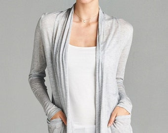 Heather grey jersey plus cardigan