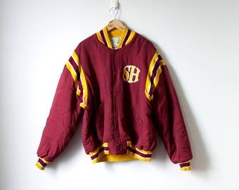 "90s Letterman Bomber Jacket - ""SH"" Letterman Jacket - 90s Bomber Jacket - Gold Red Bomber Jacket - Vintage Bomber - Men's L"