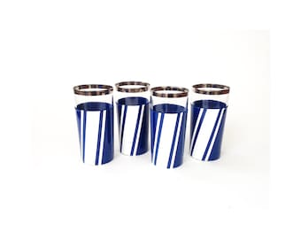 Mid Century Silver Rimmed Tumblers with Vinyl Cozies / Set of 4