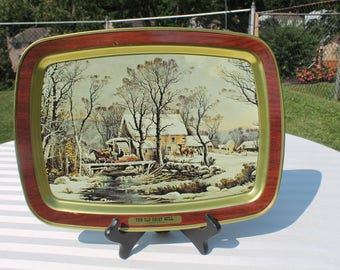 "Currier & Ives Serving Tray Titled ""The Old Grist Mill"""