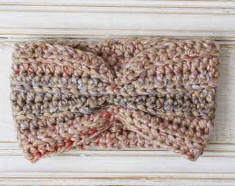 Chunky Crochet Turban Headband in Tan with Lavender Red and Pink speckles , Beige Tweed, Ear Warmer, Gift for Teen, Gift for Mom, neutral