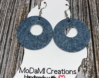 Leather earrings, denim leather, round, cutout, handmade earrings, nickle free, drop earrings, dangle earrings, lightweight