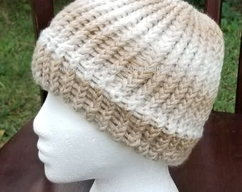 Tan, Beige/White/Gold Messy Bun/Ponytail Hat