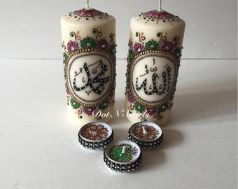 Handmade,Colorful,Henna Inspired, Set of 5 Candles,Allah Muhammad,Perfect for Wedding Center Piece,eid decor/holiday gift