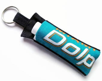 Chapstick Holder Keychain, Lip Balm Holder, Chapstick Holder, Lip Balm Keychain, AnnabelsAccessories, Miami Dolphins Lip Balm Holder
