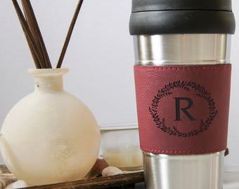 Personalized Travel Mug, Customized Leatherette Stainless Steel Travel Mug, Laser Engraved Travel Mug, Leather Coffee Mug, Custom Travel Mug