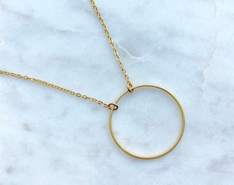 Circle necklace / gold necklace / geometric necklace / delicate necklace / minimalist necklace / delicate necklace / pendant necklace / gold