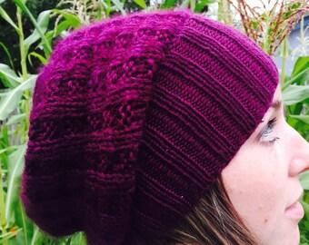 Goat Luxe Slouchy HAT PATTERN/Womens Mens Unisex Knit Hat Pattern/Instant PDF Download Pattern/Luxury Knit Hat Pattern