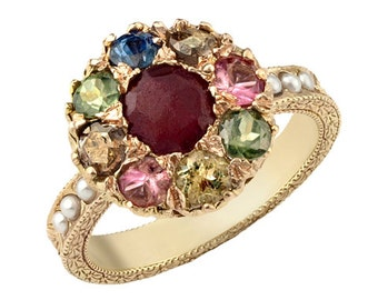 Mixed Stone Flower 14k Engagement Ring, Ruby Ring, Ruby Birthstone Ring