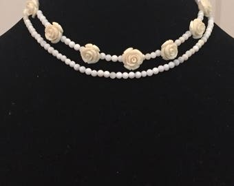 Downton Abbey Inspired Beaded Rose Necklace