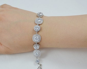Bridal Cubic Ziconia Bracelet, Silver Tone, Rose Gold Tone - Will Ship in 1-3 Business Days