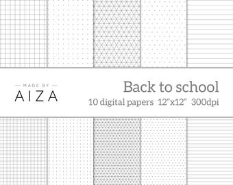 """Black and white School exercise book paper, grid paper, isometric paper, dotted paper, lined paper – Pack of 10 - instant download 12x12"""""""