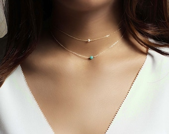 Tiny Aquamarine necklace, March birthstone necklace, Mothers Grandma necklace, Bridesmaid gift, Mothers day gift Wedding jewelry Gold Silver