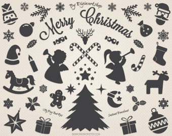 "Digital Christmas Clip Art Clipart: ""Christmas Silhouettes"" with xmas silhouettes, christmas tree, snowflakes, deers, holiday decorations"