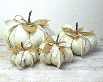 White Pumpkins, Burlap Pumpkins, Farmhouse Pumpkins, Farmhouse Decor, Fall Decoration, Neutral Fall Decor, Ivory Pumpkin, Autumn Decor