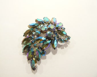Gorgeous Vintage Dark AB Rhinestone Juliana Brooch / Pin