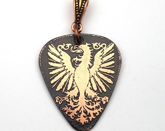 English eagle crest pendant, etched copper heraldic guitar pick jewelry, optional necklace, 30mm